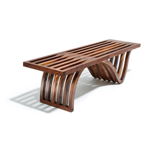 Sculptural Slatted Walnut Bench / Coffee Table by OT/TRA
