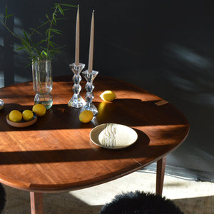 Extendable Walnut Rounded Table