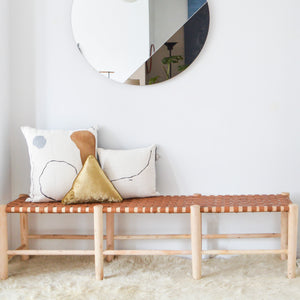 XL Moroccan Woven Leather Bench