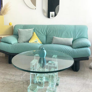 Cyan Leather Loveseat