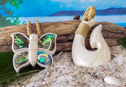 butterfly and hei matau fish hook necklace