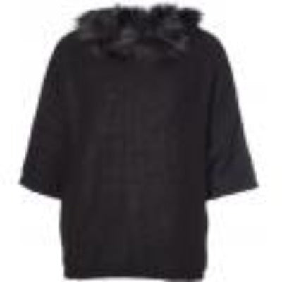 Poncho with 3/4 sleeves & detachable raccoon collar - Orchid