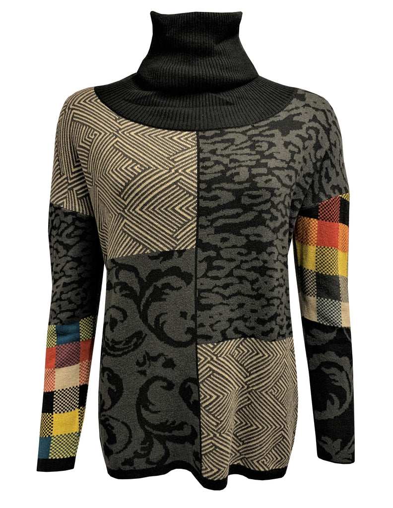 Jacquard Mix Roll Neck