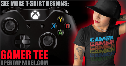 Girl in Gamer Tee designed by Xpert Apparel Store, Red Glow, Xbox one Controller
