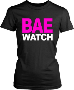 "All Black Tee on White Background with ""Bae Watch"" design"