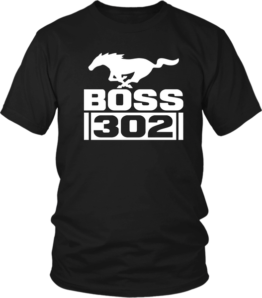 Black T-shirt Mock-up with Ford Mustang Boss 302  design on the front , now available from the Xpert  Apparel Store