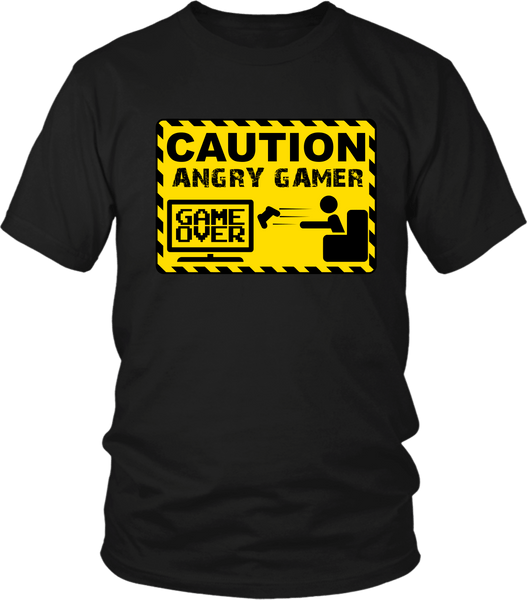 Black male T-shirt mock-up with Caution Angry Gamer design on the front  available from the Xpert Apparel Store
