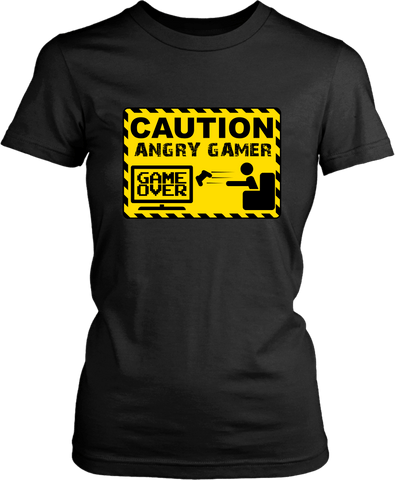 Funny Tee - Caution Angry Gamer- Funny Gamer Tee