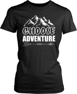 Black female form t-shirt mock-up with Choose Adventure design on the front, available from the Xpert Apparel Store.