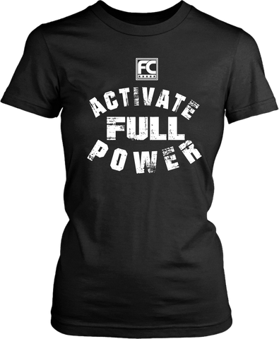 Mock- up of a Black Female T-shirt with Activate full power printed on the front, now available from Xpert Apparel Store