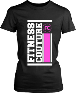 Fitness Couture - Vertical Logo T-shirt *Pink* Workout, Gym Day Tee - xpertapparel