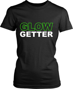 "Black Female T-shirt Mock-up with ""Glow Getter"" Design Lime green font available from the Xpert Apparel Store"