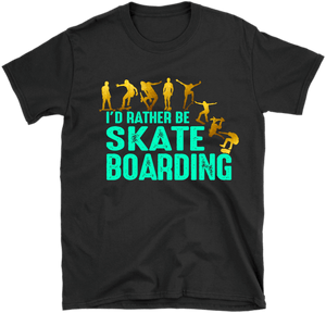 Black Kids T-shirt mock-up with I'd Rather be Skate Boarding design on the front available from the Xpert Apparel Store