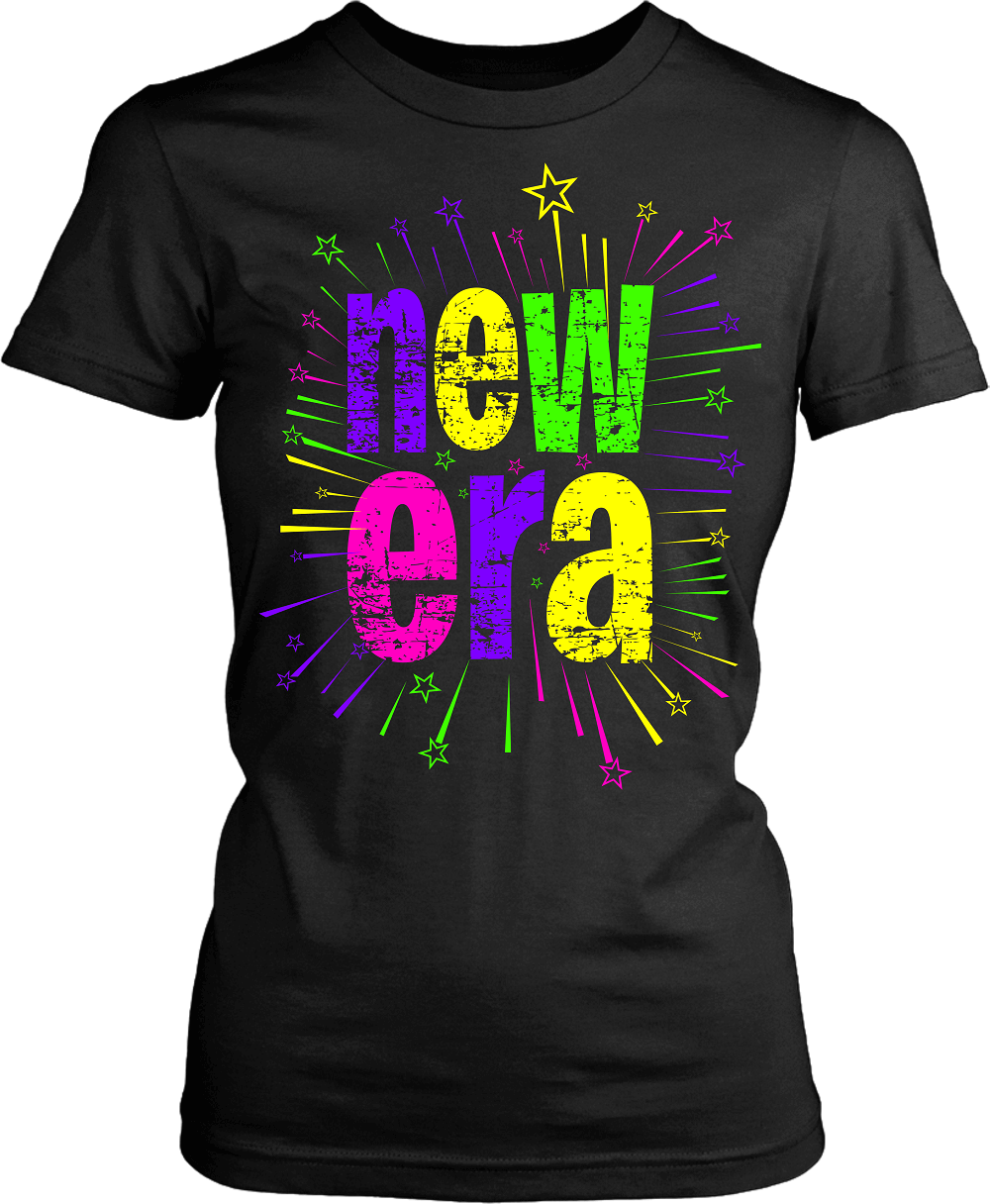 "T-shirt Mock-up with bold design ""new Era"" on the front  colorful available from the Xpert Apparel Store"