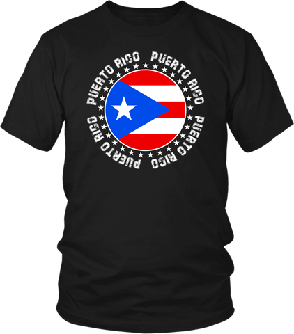 Black T-shirt Mock up with circular Puerto Rican flag, Puerto Rican Spirit T-shirt  Available from the Xpert Apparel Store
