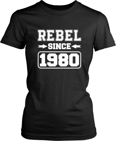 "Black T-shirt on white background with ""Rebel since 1980"" design from the Xpert Apparel Store"