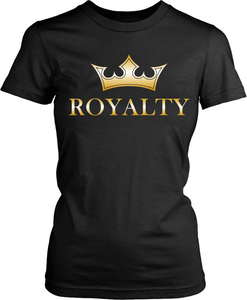 "Black T-shirt Mock up with ""Royalty"" Gold Tone  graphic design on the front, available from the Xpert Apparel Store"