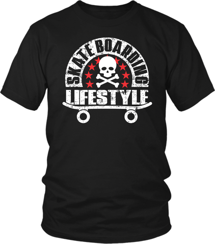 "Black Male T-shirt Mock-up with ""Skateboarding Lifestyle"" grunge design on the front, available from the Xpert Apparel Store"