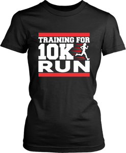 "Black T-shirt Mock up with ""Training For 10K Run"" graphic design on the front, available from the Xpert Apparel Store"
