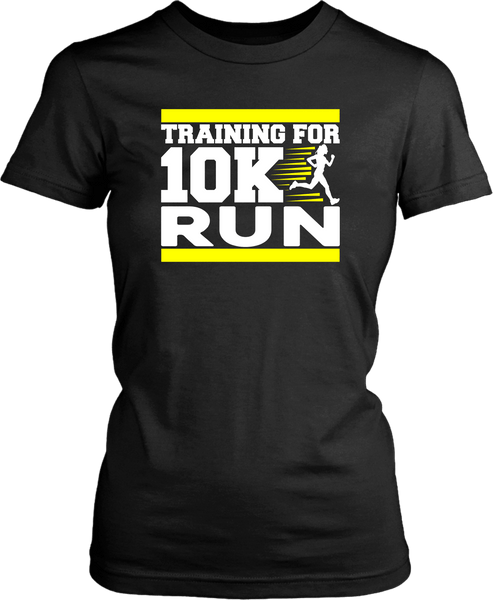 "Black T-shirt Mock up with ""Training For 10K Run"" graphic design on the front with Yello Streaks, available from the Xpert Apparel Store"