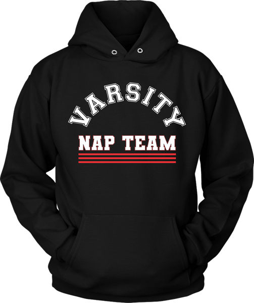 Black Hoodie Mock-up with Varsity Nap Team design on the front, available from The Xpert Apparel Store.