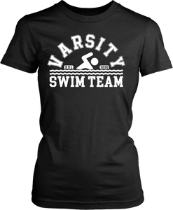 Black T-shirt mock-up with Varsity swim team design on the front, from the Xpert Apparel Store.