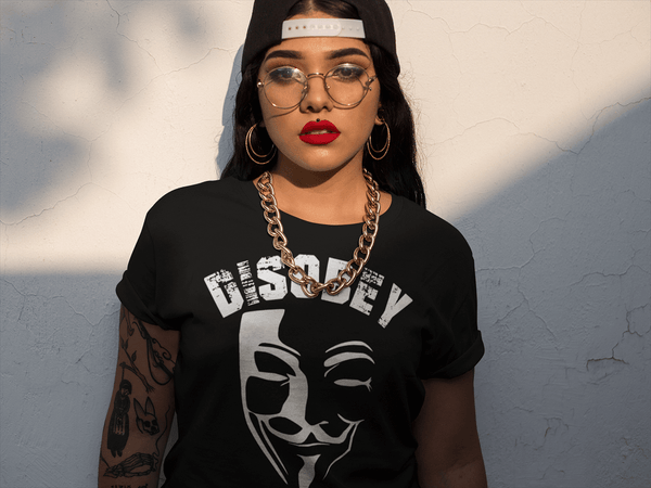 Hispanic female wearing black T-shirt with Vendetta Mask Disobey  from the Xpert Apparel Store