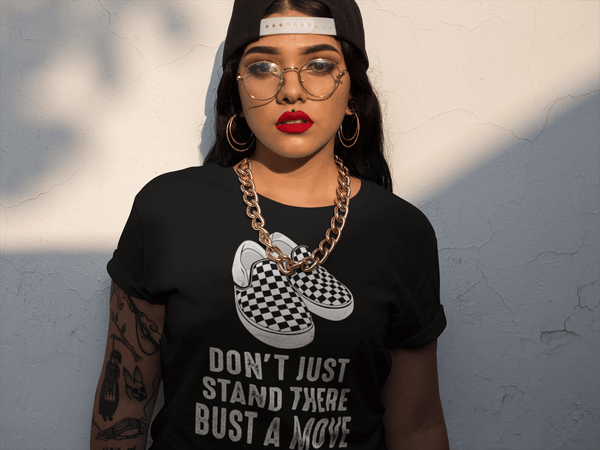 Hispanic Lady in gold chain wearing don't just stand there bust a move t-shirt design from the Xpert Apparel Store