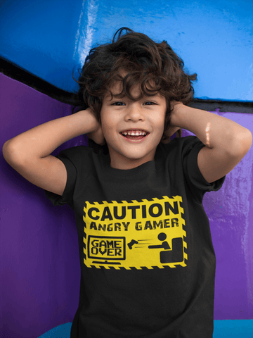 Funny Kids - Caution Angry Gamer Tee!!