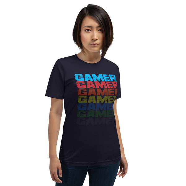 Female Model wearing black T-shirt with Faded Out Gamer Design from the Xpert Apparel Store