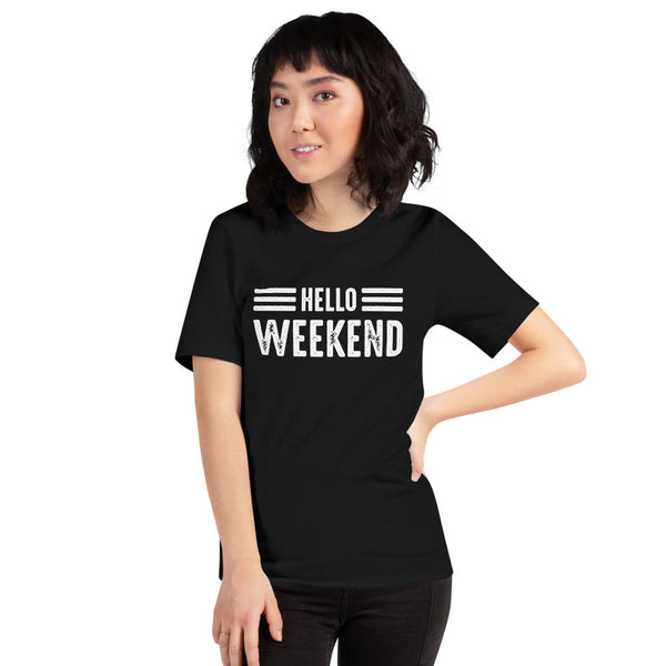 Asian Lady posing forward  wearing a black t-shirt with Hello Weekend design