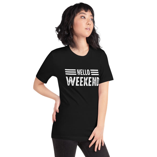Asian Lady posing to the right wearing a black t-shirt with Hello Weekend design