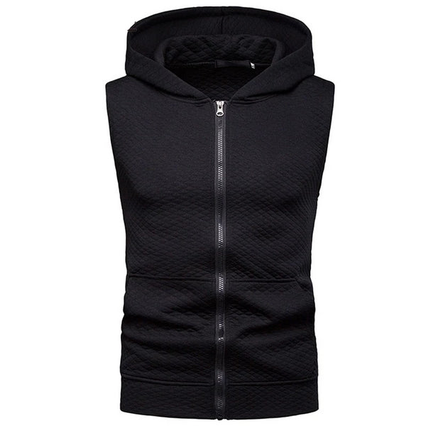 Hooded Tank Top Summer New Bodybuilding Zipper Sleeveless Hooded Vest Hip Hop Casual Slim Fit Clothing XXL