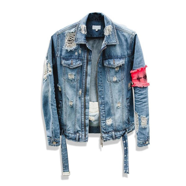 Men's Jean jacket Street-wear Hip Hop Flight Jacket Denim Jacket Ripped Denim Jacket Casual Fashion Jacket