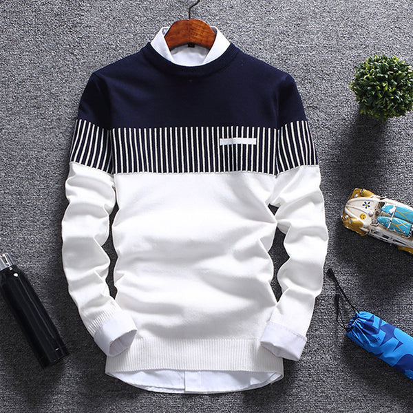 New Men's Autumn Winter Pullover Wool Slim Fit Knitted Striped Sweater