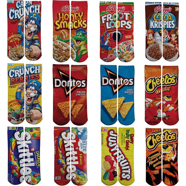 1 pair Funny Unisex  Art Socks  printing Potato chips Knee High Socks