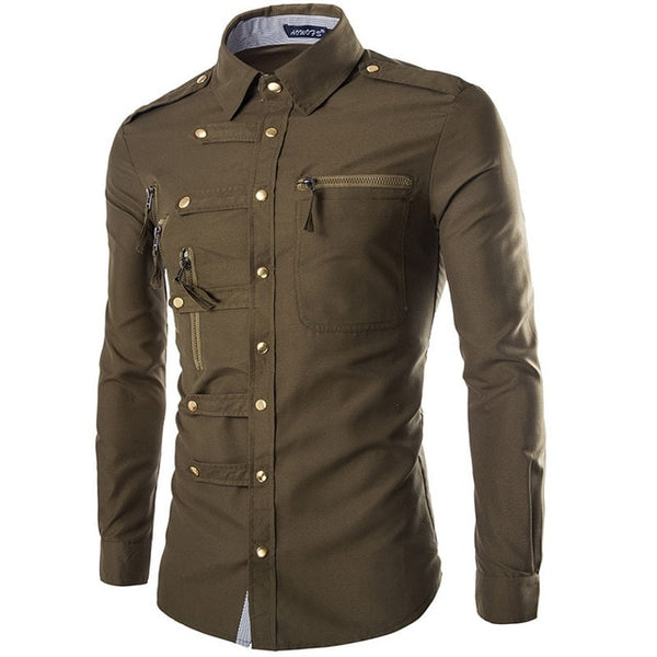 Men's Long Sleeve Cargo Shirt Casual Slim Fit button down shirt. - xpertapparel
