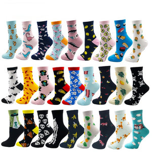 Women's Socks Cotton Colorful Cartoon Cute Funny Happy kawaii Skull Alien Avocado Socks for Girls - xpertapparel