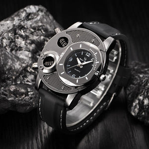 Men's Military Quartz Wrist Watch Silicone Strap Big Face Time Zone Analog Display Compass Thermometer Decorative Dial Sport - xpertapparel