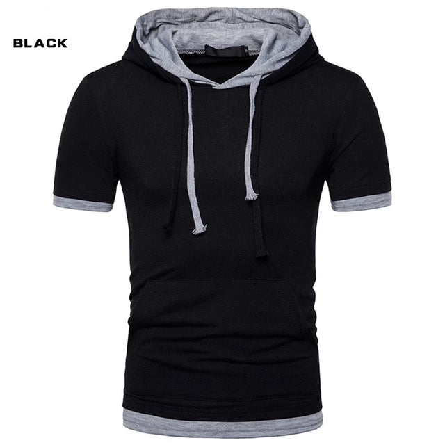 Two Tone Pieces T Shirt  2019 Summer Brand Cotton Hooded  T-shirts Casual Slim Fit Short Sleeve  Hoodies T-shirt