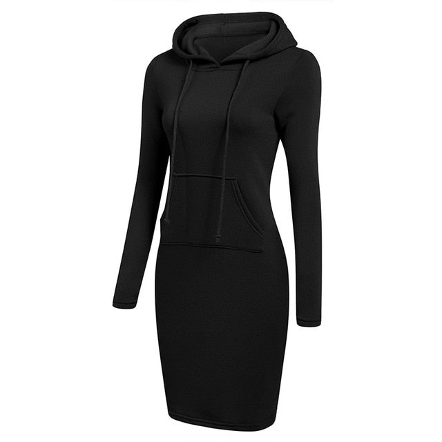 Hoodie Dress  Warm Sweatshirt Long-sleeved Dress 2019 Woman Clothing Hooded Collar Pocket Design Simple Woman Dress - xpertapparel