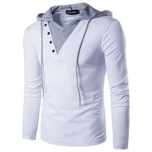 New Arrivals Men's casual T-Shirt Fashion Hooded Sling Long-Sleeved Tees V-collar Male Fake two pieces t-shirt Slim Europe size
