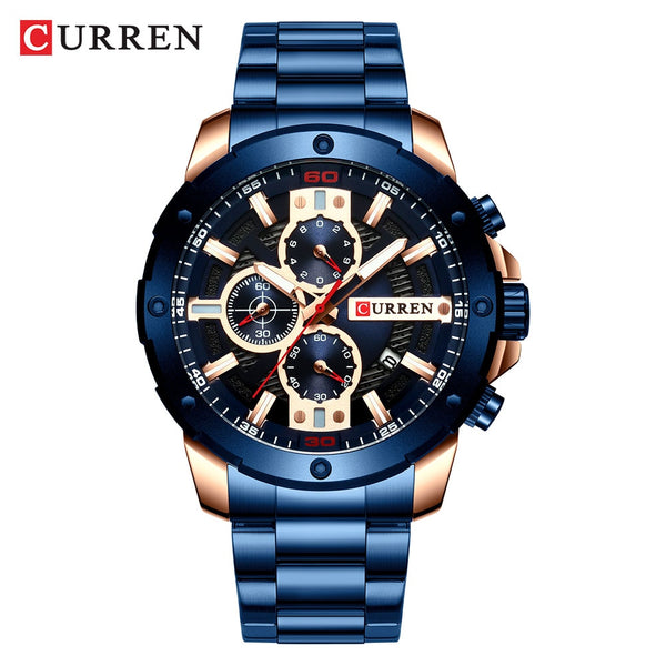 New Quartz Luminous Mans Watch Fashion Sport Stainless Steel Watches 3ATM Waterproof Wristwatch Chronograph Watches