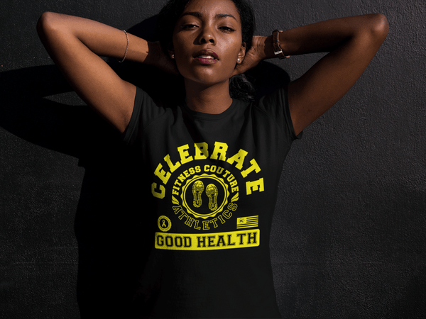 "Fitness Couture Athletics - Celebrate Good Health T-shirt Red, Workout, Training ""Yellow"" - xpertapparel"