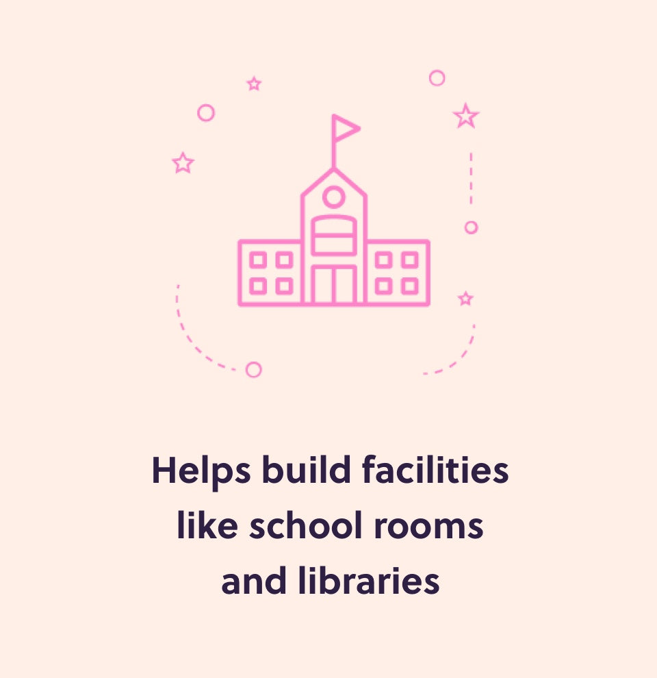 Help build facilities like school rooms and libraries