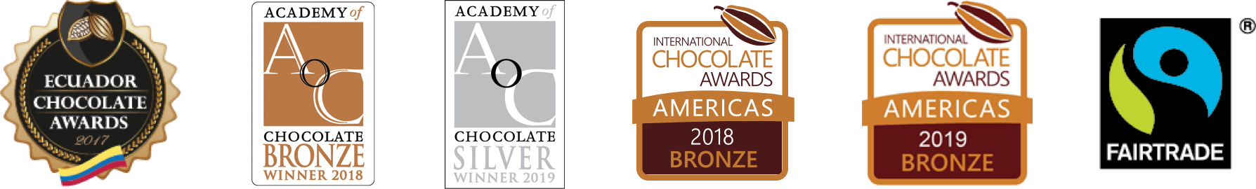 Ecuador Chocolate Awards, Academy of Chocolate Bronze winner 2018, Academy of Chocolate Silver winner 2019, Bronze Chocolate award 2018, Bronze Chocolate award 2019, fairtrade award