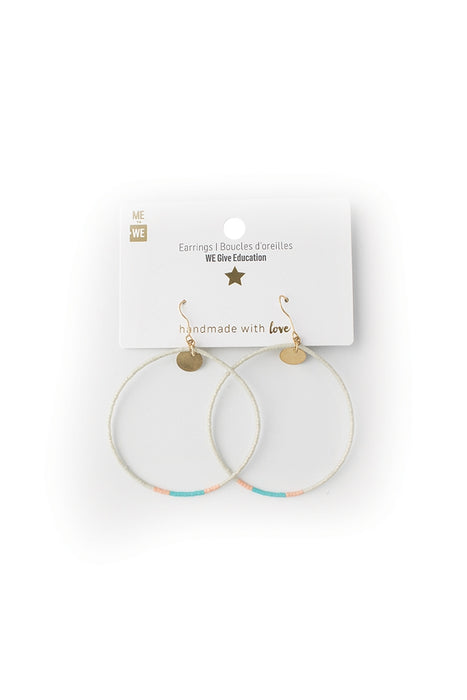 Contrast Beaded Hoops - Seaglass