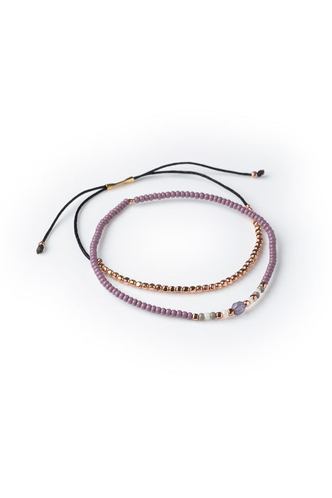 Gratitude Bracelet Set - Copper and Mauve