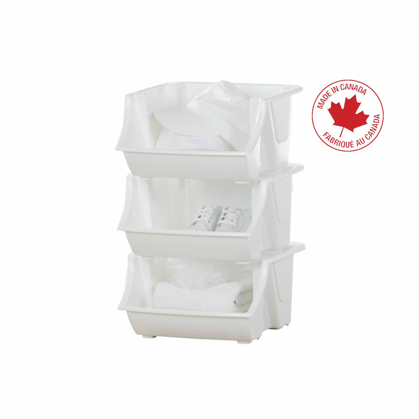 Set of 3 Stackable, Plastic Storage Utility Bin - Style 0024