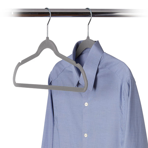 10 Pack Ultra-Slim Felt Non-Slip Clothes Hanger - Grey - Style 0675